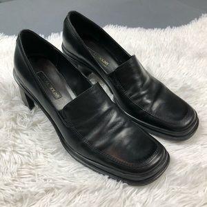 Enzo Angiolini Block Heel Black Leather Loafer 9